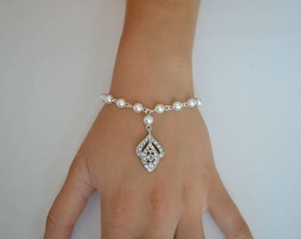 Bridal Swarovski Pearl Bracelet, Crystal, Vintage Style, Wedding Jewelry, Rita - Ships in 1-3 Business Days