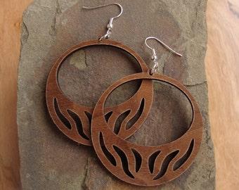 Sustainable Wooden Hook Earrings - Hoops with Slits - in Walnut