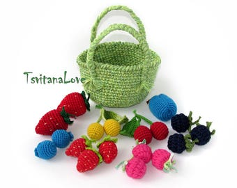 Kitchen play set 16 berries + basket - Eco Friendly toy - Crochet play food - stuffed fruit - vegan toys - Kids gift - berry