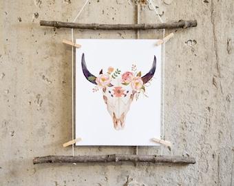 boho wall art printable, boho nursery decor, cow print, cow skull print, bull skull, tribal nursery, bohemian print, tribal nursery decor,