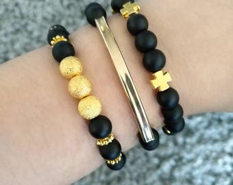 Bracelet stack, set of 3, stretchy bracelets, stackable bracelets, beaded bracelets, black and gold jewelry, layering jewelry, stackable