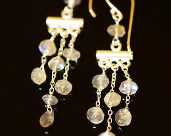 Labradorite Chandelier Earrings Sterling Silver. Labradorite earrings.