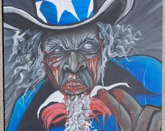 Original Zombie Uncle Sam Acrylic Painting on wood