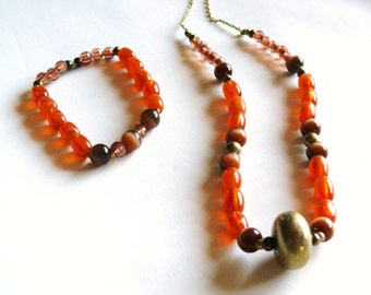 Bright Orange & Brown Glass Beads necklace and bracelet set