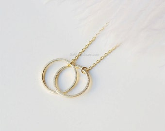 Gold Double Circle Necklace, Eternity necklace, infinity necklace, love knot necklace/ dainty, simple, birthday, wedding, bridesmaid jewelry