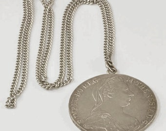 Coin Jewelry - Vintage Maria Theresa Thaler 1780 Restrike as Pendant
