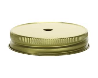 Gold Mason Jar Lid with Straw Hole for Regular Mouth Mason Jars