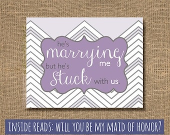 Will You Be My Maid of Honor / Maid of Honour / Purple / Chevron / Will You Be My Matron of Honor / Maid Card / Wedding Party Invitation