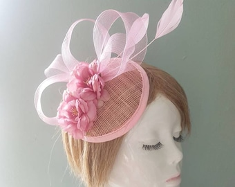 Light Pink Camelia Flower Statement Sinamay Swirl and Feather Vintage Floral Hat Hair Peice Fascinator