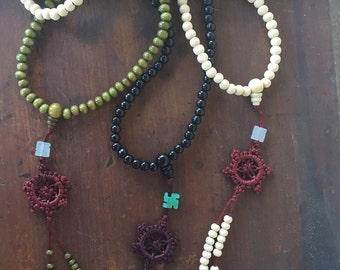 OUT is in USA Tibetan Sandalwood Buddha Beads,Mala Sandalwood Prayer Beads,Prayer Bead Bracelet, Tibetan Prayer beads,Dharma Wheel necklace