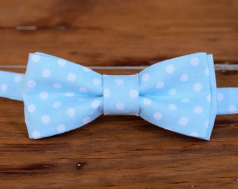 Boys Light Blue Bow Tie, boy's blue white dot cotton bowtie, pre tied bow tie, bow tie for infant baby toddler preteen boy, ring bearer tie