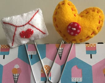 Heart and Mail Felt Paperclips (Set of 2)