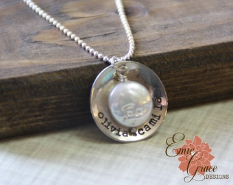 Mom Necklace, Names Necklace, Personalized Mother Jewelry, Sterling Silver & Freshwater Coin Pearl, Hand Stamped