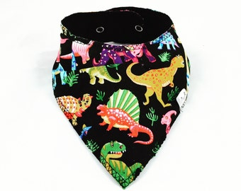 Dinosaur Bandana Bib, Baby Bib, Dribble Catcher, Black Bib, Drool Catcher, Baby Bandana, Fleece Backed, Absorbent, Adjustable size, Cute