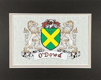 "O'Dowd Irish Coat of Arms Print - Frameable 9"" x 12"""