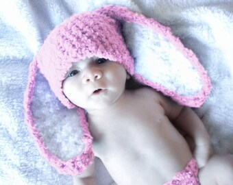 6 to 12m Baby Bunny Hat Baby Beanie Crochet Bunny Ears Baby Hat in Baby Pink White Rabbit Hat For Girls Photo Prop, Baby Gift