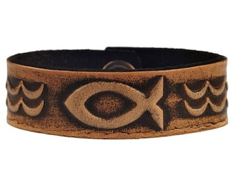 Leather Bracelet Wristband Cuff Embossed 20mm Christian Fish Symbol Antique-black with Snap Fasteners with Jesus Fish
