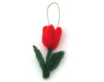 Felt flower ornament - Red tulip - Needle felted tulips - Spring decoration