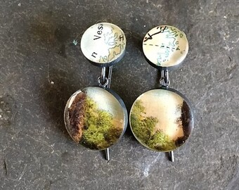 Vintage Postcard Earrings  Coastline Map Trees and Twilight Sky  Sterling Silver Oxidized : Traveling Love Letters Free US Shipping