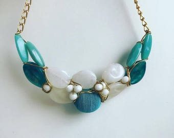Turqouise and white Statement necklace