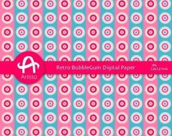 Circles Digital Downloads Digi Paper Scrapbooking Patterns Download Bubblegum Pink and Blue