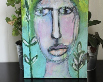 "GROW - original mixed media artwork on canvas 9x12"""