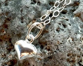 Heart Necklace, Valentines, Silver Necklace, Heart Jewelry