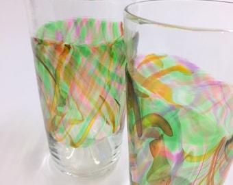 Hand Blown Art Glass Pint Glasses, Rainforest Band Tumblers Barware Wedding Registry Gifts