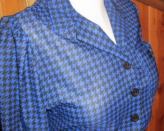Vintage Sheer  Electric Blue Houndstooth Puff Sleeve Midi Dress sz  L