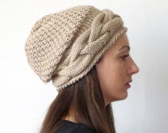 Women knit hat - Ready to Ship winter hat, Knit Accessories, wool knit hat, knit beanie, slouchy beanie, womens slouch hats
