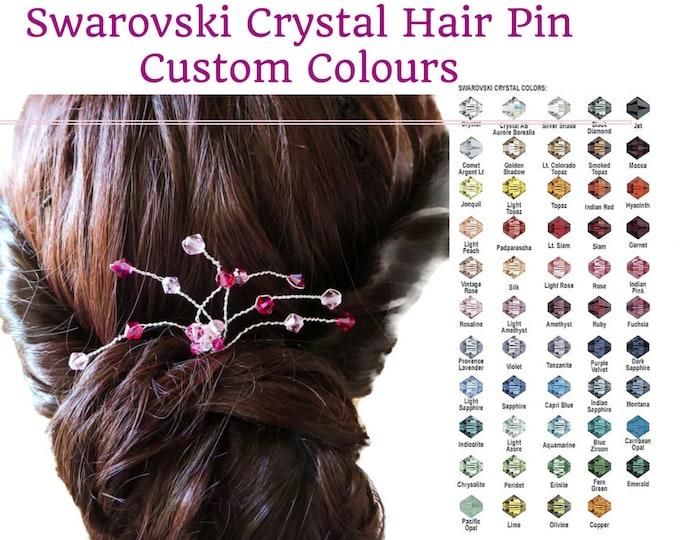 Crystal hair pin, bridesmaids hair, Swarovski , pink, purple, red, blue fascinator, prom, wedding bride hair pin, bride hair accessory