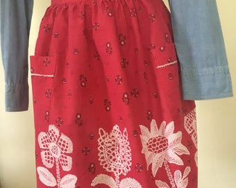 Vintage red flowered apron