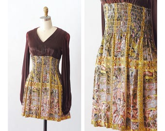 vintage 1970s Young Edwardian mini dress / size small