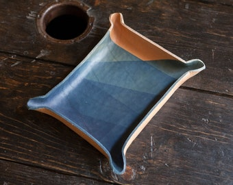 Indigo Dip Dyed Leather Catchall Tray with Random Abstract Pattern