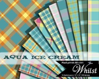 Digital paper plaid scrapbooking background pack in Aqua and Blue : p0168 AB v301