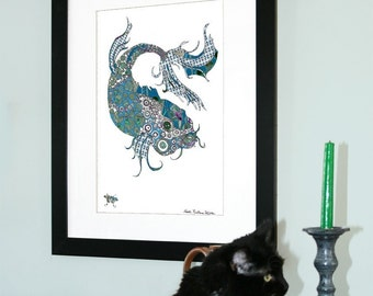 Koi Fish Open Edition Fine Art Print from Original // Blue and White // 13 x 19, 11 x 14, 8.5 x 11, 8 x 10, 5 x 7