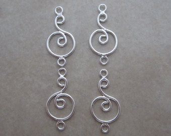 4 sterling silver link connectors swirl in circle