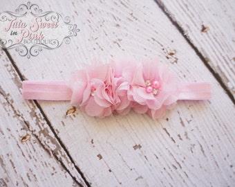 Pink Chiffon Headband/ Baby Shabby Headband/ Flower Headband/  Pink Headband/ Baby Headband/ Rhinestone Headband/ Girls Headband/ Newborn