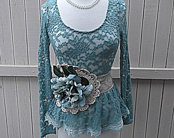 SALE Women's Romantic Lace Shirt with Flower Sash Shabby Junior's Teal Blue Top Long Sleeves