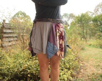 Upcycled scrap wrap skirt