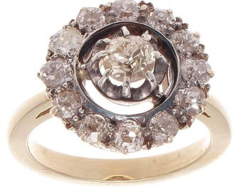 Victorian Diamond Gold Silver Cluster Ring