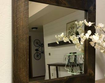 Modern Rustic Square Vanity Mirror // Square Mirror // Vanity Mirror // Wooden Mirror // Framed Mirror