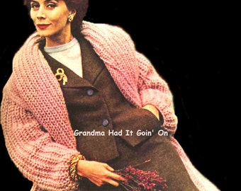 KNITTING Sweater Coat PATTERN - Chunky Winter Jacket - PDF Instant Download - Bulky Knit Sweater - Long Sweater Coat Vintage Pattern