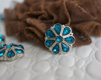 5 Teal Rhinestone Buttons - Aquamarine Acrylic Rhinestones - Rhinestone Embellishment -18mm Buttons for Flower Centers