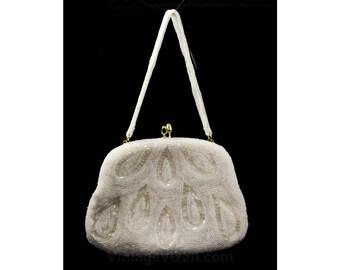 1950s White Evening Bag - Hand Beaded Formal Paisley Purse - Sophisticated 50s Handbag - Teardrop Beads - Convertible Strap - 48108