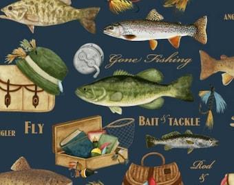 """Fleece Fabric Fishing Fish 60"""" Wide Style AA 39603"""