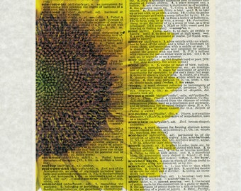 Sunflower Yellow Typography Art Print Picture Vintage Dictionary Page Repurposed Recycled Upcycled