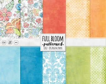 Tropical Pattern, Island Vacation Digital Paper, Full Bloom Floral Pattern, Destination Wedding Backgrounds, Coral + Blue & Lime Green