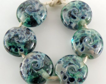 Midnight on the Water SRA Lampwork Handmade Artisan Glass Lentil Beads 18mm Made to Order Set of 6