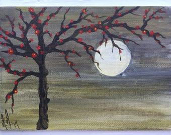 Original Artwork, Red Blossom Tree in Moonlight, acrylic painting